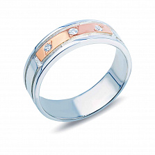 Серебряное кольцо Судьба со вставкой из золота и фианитами