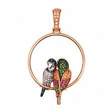 Подвеска Влюбленные попугайчики из красного золота
