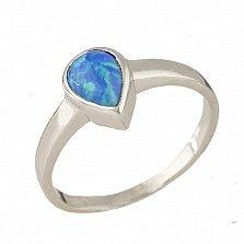 Серебряное кольцо Дора с голубым опалом