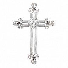 Крестик из белого золота Исток с бриллиантом