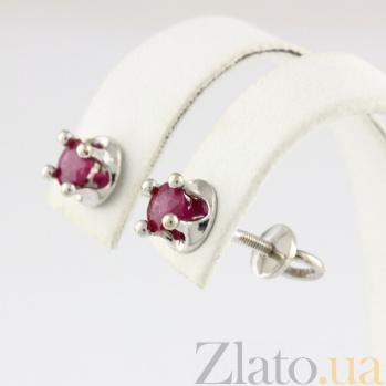 Золотые сережки-пуссеты с рубинами Власть VLN--123-1259-13