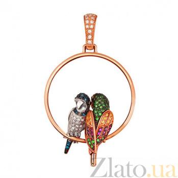 Подвеска Влюбленные попугайчики из красного золота VLT--ТТ3406-2