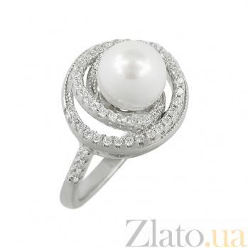 Серебряное кольцо с жемчугом и фианитами Адель 3К543-0162
