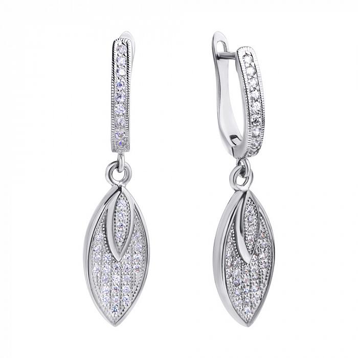 Серебряные серьги-подвески Листочки с фианитами 000078465