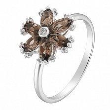 Кольцо в белом золоте Патриция с раухтопазои и бриллиантами