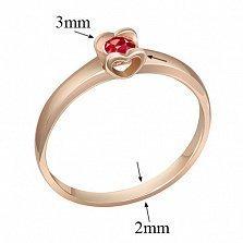 Кольцо в красном золоте Желание сердца с рубином