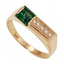 Золотой перстень Сдержанная элегантность с изумрудом и фианитами