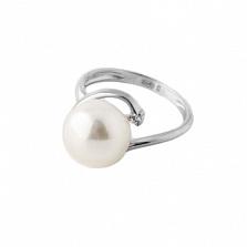 Серебряное кольцо Бернадетт с белой жемчужиной и Swarovski Zirconia