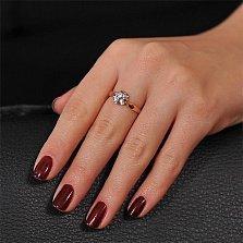 Золотое кольцо с бриллиантом Орхидея