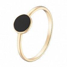 Кольцо в желтом золоте Вера с белой или черной эмалью