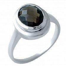 Серебряное кольцо Гермия с раухтопазом