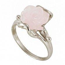 Золотое кольцо Эмели в белом цвете с розовым кварцем