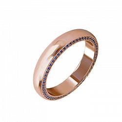 Женское обручальное кольцо Флорида с дорожкой сапфиров на боковой стороне шинки 000070962