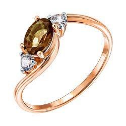 Кольцо из красного золота с раухтопазом и фианитами 000122333