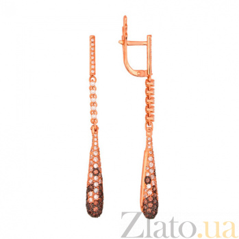 Серьги-подвески из красного золота с белым и оранжевым цирконием Капля VLT--ТТ2255-2