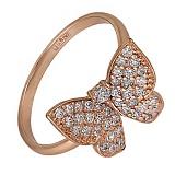 Кольцо из красного золота Парящая бабочка