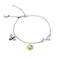 Серебряный браслет с эмалью, позолотой и фианитами 000113638