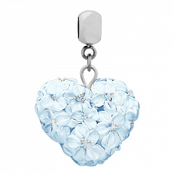 Серебряный кулон Голубое цветочное сердце с муранским стеклом