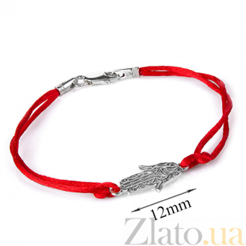 Шелковый браслет с серебряной вставкой Хамса 4007/кр Хамса