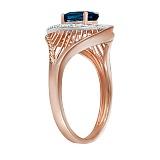 Кольцо Клодетта  из красного золота с бриллиантами и топазом