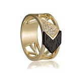 Золотое кольцо Шейла с эбеновым деревом и цирконием