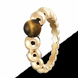 Кольцо из желтого золота с тигровым глазом 000012094