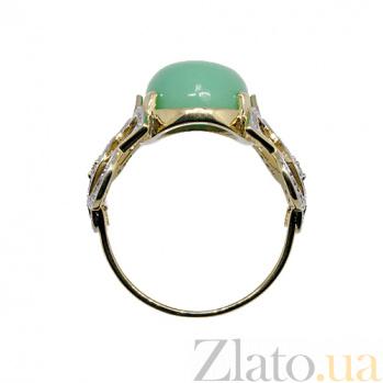 Золотое кольцо в жёлтом цвете с бриллиантами и хризопразом Хайди 000021531