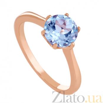 Золотое кольцо с голубым топазом Брайди 000024468