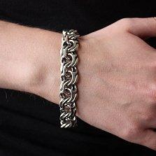 Серебряный чернёный браслет Атлайн, ширина 1,5см
