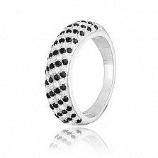 Серебряное кольцо с цирконием День и Ночь