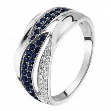 Кольцо в белом золоте Айлин с сапфирами и бриллиантами