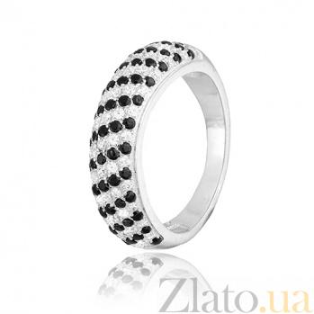 Серебряное кольцо с цирконием День и Ночь 000028149
