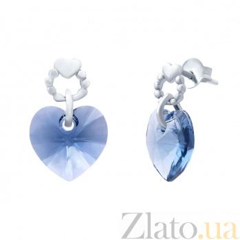 Серебряные серьги с кристаллами Swarovski Сердце AQA--S221560111