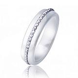 Белое керамическое кольцо-антистресс Милана с крутящейся серебряной дорожкой