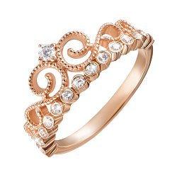 Кольцо-корона из красного золота с фианитами 000126233