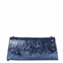 Кожаный клатч Genuine Leather 1692 синего цвета с декоративными элементами и цепочкой 000091942