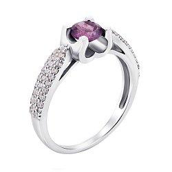 Серебряное кольцо с аметистом и фианитами 000010810