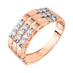 Золотое кольцо в красном цвете с прорезями на шинке и вставками из фианитов  000093261