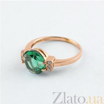 Золотое кольцо Крейтер с синтезированным аметистом и фианитами 000024473