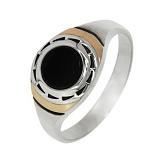 Серебряное кольцо с золотыми вставками и ониксом Фауст