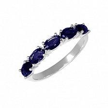 Серебряное кольцо Паула с синтезированным сапфиром