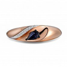 Кольцо из красного золота Анастасия с бриллиантами и сапфиром