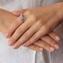Серебряное кольцо Дикая Роза с белым цирконием