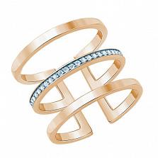 Серебряное кольцо Метрика позолоченное с фианитом
