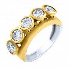 Кольцо из серебра и бронзы Бетани с кристаллами циркония