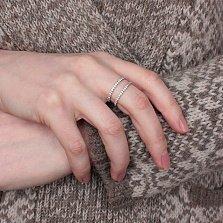 Серебряное кольцо Двойная сплошная с белыми фианитами