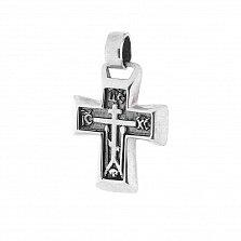Серебряный крест Православие с чернением