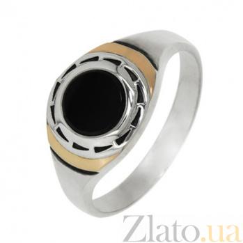 Серебряное кольцо с золотыми вставками и ониксом Фауст BGS--593к