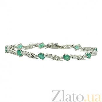 Серебряный браслет Блюз с изумрудами и бриллиантами ZMX--BCDE-6098-Ag_K