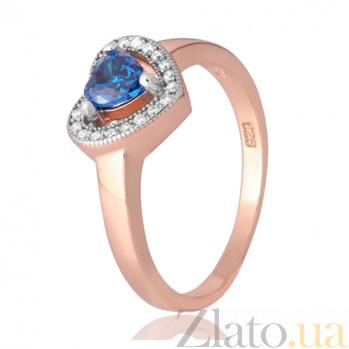 Позолоченное кольцо из серебра с цирконием Свет любви 000028443